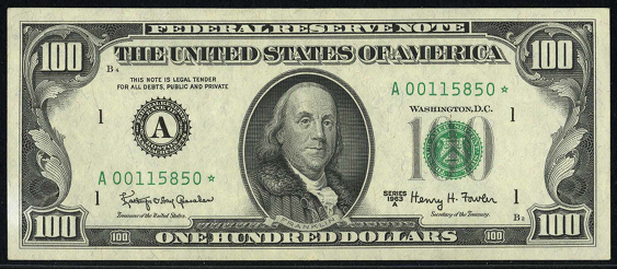 1963a One Hundred Dollar Federal Reserve Note