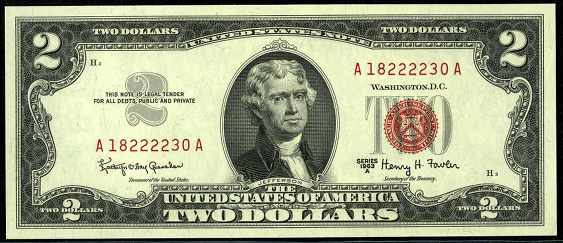 1963a Two Dollar Legal Tender Or United States Note