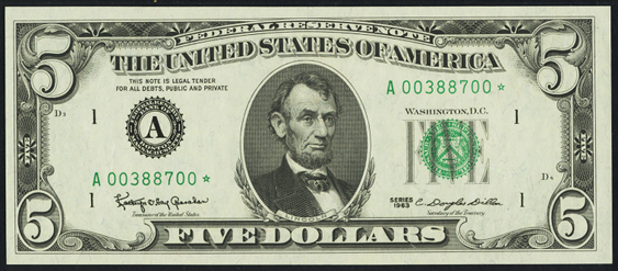 1969 Five Dollar Federal Reserve Note