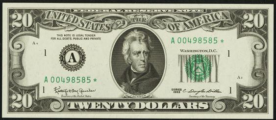 1969 Twenty Dollar Federal Reserve Note