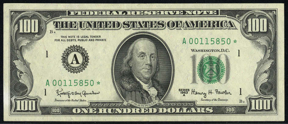 1969a One Hundred Dollar Federal Reserve Note