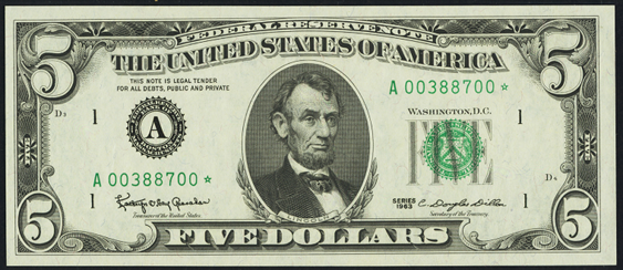 1969c Five Dollar Federal Reserve Note