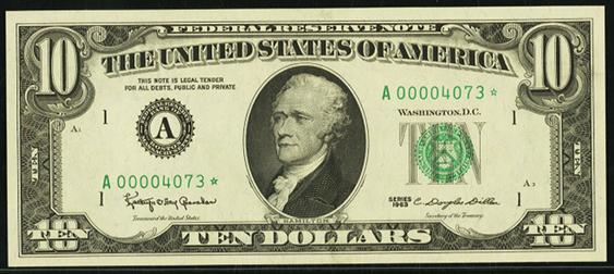 1977a Ten Dollar Federal Reserve Note