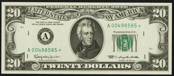 1981a Twenty Dollar Federal Reserve Note