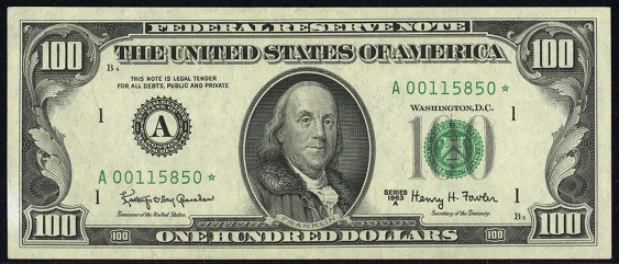 1985 One Hundred Dollar Federal Reserve Note