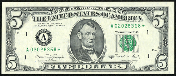 1988a Five Dollar Federal Reserve Note