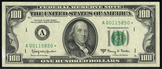 1990 One Hundred Dollar Federal Reserve Note