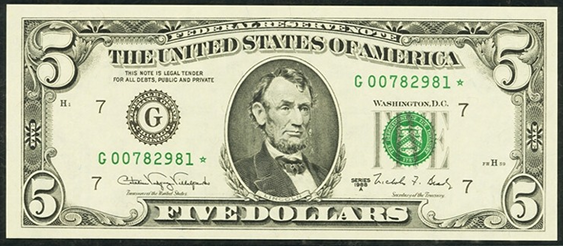 1993 Five Dollar Federal Reserve Notes FW