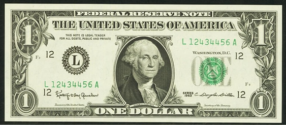 1993 One Dollar Federal Reserve Note