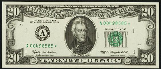 1995 Twenty Dollar Federal Reserve Note