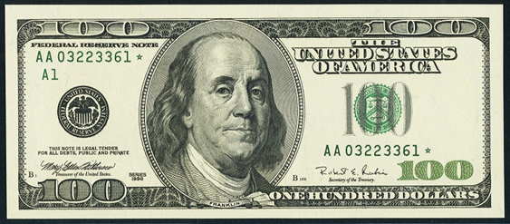 1999 One Hundred Dollar Federal Reserve Note