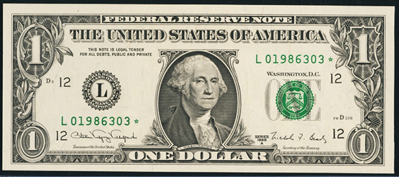 2001 One Dollar Federal Reserve Notes FW