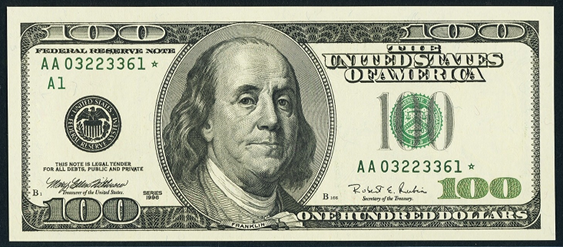 2001 One Hundred Dollar Federal Reserve Note