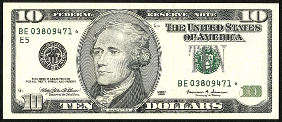 2003 Ten Dollar Federal Reserve Note