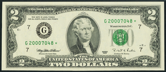 2003 Two Dollar Federal Reserve Notes FW