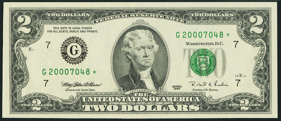 2003a Two Dollar Federal Reserve Notes FW