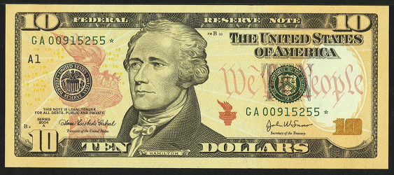 2004a Ten Dollar Federal Reserve Note