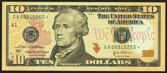 2009 Ten Dollar Federal Reserve Note