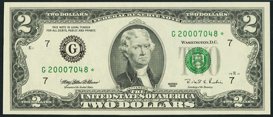 2009 Two Dollar Federal Reserve Notes FW