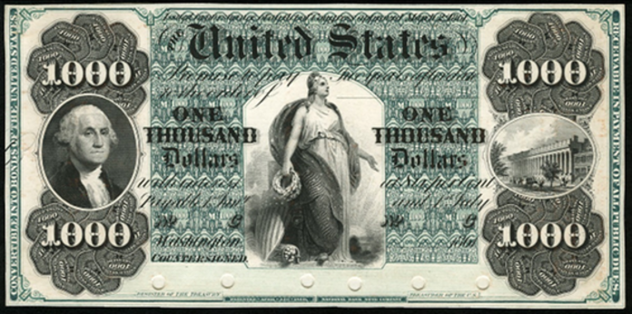 1861 $1000 Interest Bearing Note Value – How much is 1861 $1000 Bill Worth?
