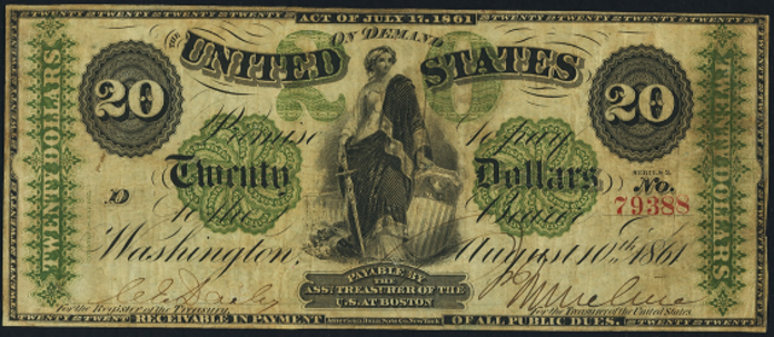 1861 $20 Demand Note Value – How much is 1861 $20 Bill Worth?