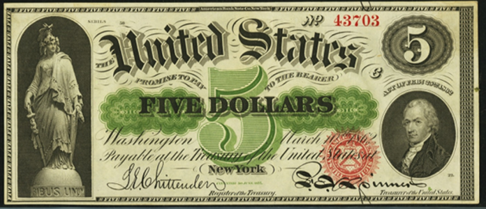 1862 $5 Legal Tender Value – How much is 1862 $5 Bill Worth?