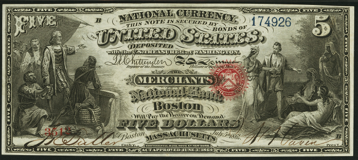 1863 $5 National Bank Notes Value – How much is 1863 $5 Bill Worth?