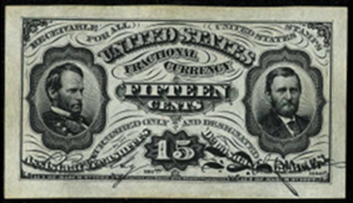1863 4th Issue 15 Cent One Sided Note Value – How much is 15 Cent Blank Back Worth?