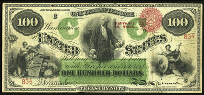 1863 $100 Interest Bearing Note Value – How much is 1863 $100 Bill Worth?