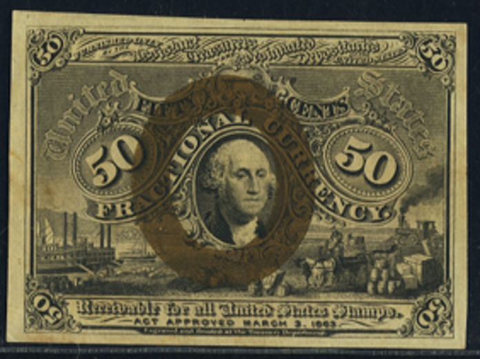 1863 2nd Issue 50 Cent One Sided Note Value – How much is 50 Cent Blank Back Worth?