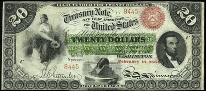 1863 $20 Interest Bearing Note Value – How much is 1863 $20 Bill Worth?