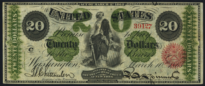 1863 $20 Legal Tender Value – How much is 1863 $20 Bill Worth?