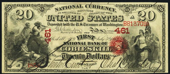1863 $20 National Bank Notes Value – How much is 1863 $20 Bill Worth?