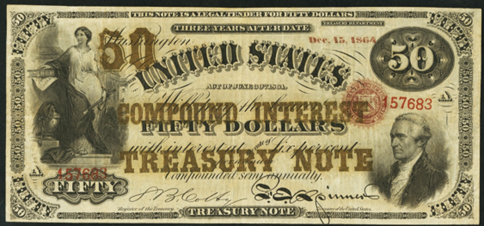 1864 $50 Compound Interest Treasury Note Value – How much is 1864 $50 Bill Worth?