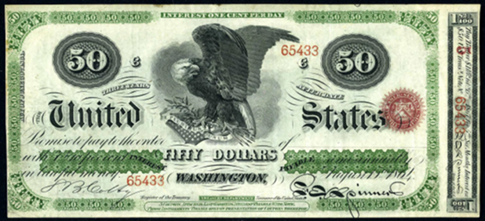 1864 $50 Interest Bearing Note Value – How much is 1864 $50 Bill Worth?