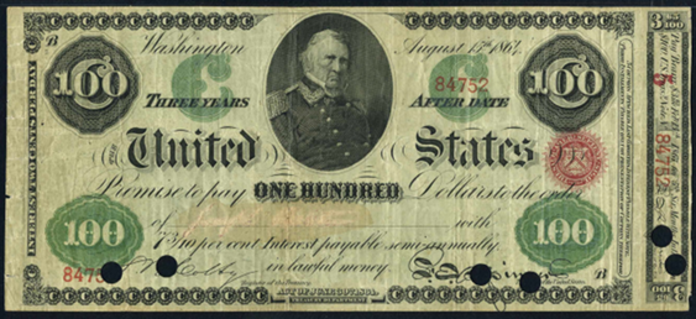 1864 $100 Interest Bearing Note Value – How much is 1864 $100 Bill Worth?