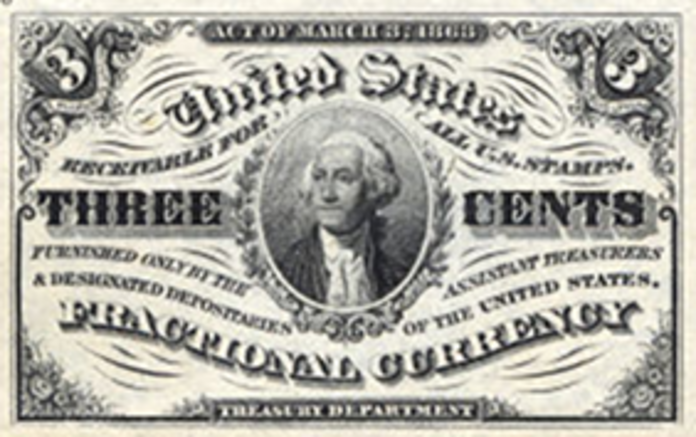 1863 3rd Issue 3 Cent Note Value – How much is 1863 3 Cent Bill Worth?