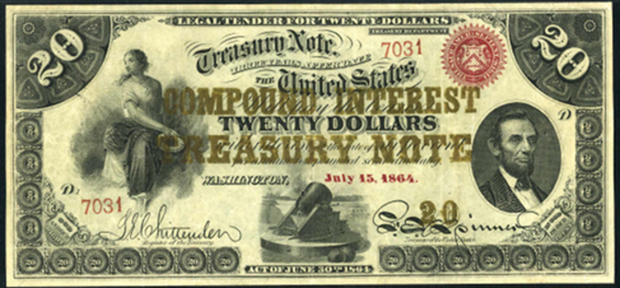 1863 $20 Compound Interest Treasury Note Value – How much is 1863 $20 Bill Worth?