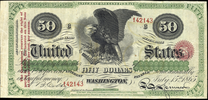1865 $50 Interest Bearing Note Value – How much is 1865 $50 Bill Worth?