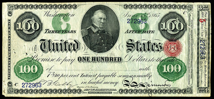1865 $100 Interest Bearing Note Value – How much is 1865 $100 Bill Worth?