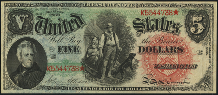 1869 $5 Legal Tender Value – How much is 1869 $5 Bill Worth?