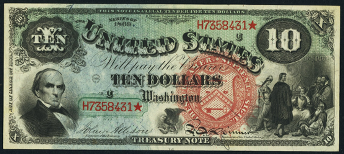 1869 $10 Legal Tender Value – How much is 1869 $10 Bill Worth?