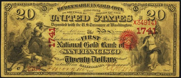 1870 $20 National Gold Note Value – How much is 1870 $20 Bill Worth?