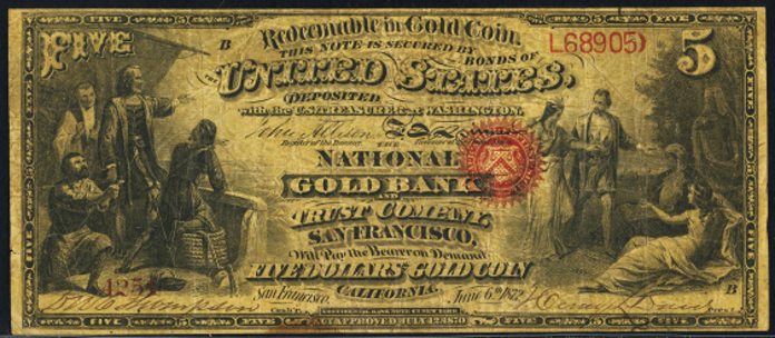1872 $5 National Gold Note Value – How much is 1872 $5 Bill Worth?