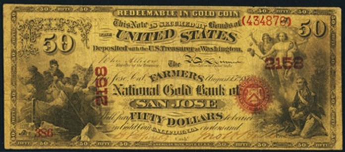 1874 $50 National Gold Note Value – How much is 1874 $50 Bill Worth?