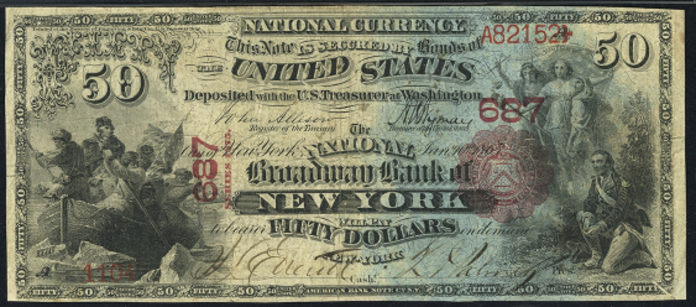 1875 $50 National Bank Notes Value – How much is 1875 $50 Bill Worth?