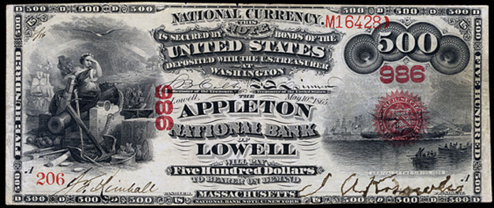 1875 $500 Bill Value – How Much Is 1875 First National Bank of Charleston West Virginia $500 Worth?