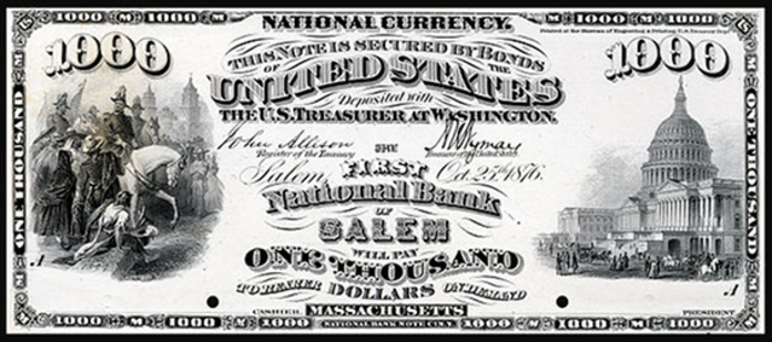 1875 $1000 National Bank Notes Value – How much is 1875 $1000 Bill Worth?
