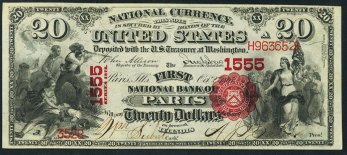1875 $20 National Bank Notes Value – How much is 1875 $20 Bill Worth?