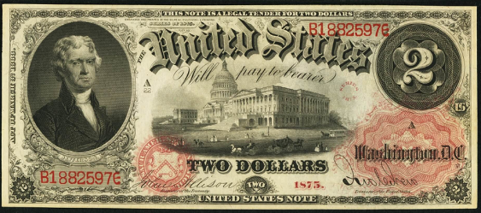 1875 $2 Legal Tender Value – How much is 1875 $2 Bill Worth?
